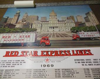 Rare 1969 Red Star Express Lines Trucking Transportation Calendar - Vintage Baltimore City Hall Maryland Advertising