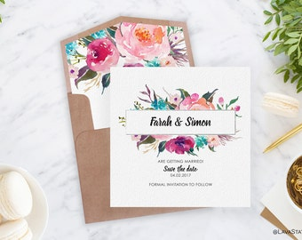 Farah Save the Date in White - Save the Date, Wedding Invitation, Watercolor Floral, Bridal Shower, Digital Download, Printable Invitation