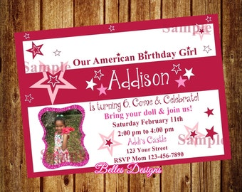 Our-American-Birthday, Girl, Birthday Party, Invitation (Digital File)
