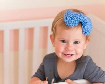 Blue Headband / Baby Girl Headband / Spring Baby Headband / Big Baby Headband / Nylon Headband / Big Bow Headband / Nude Nylon Headband