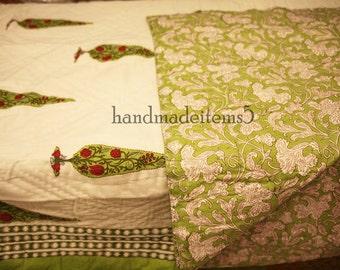 Indian Hand block Print Cotton Quilt,Reversible Cotton Double Bed Quilt,Floral Print Cotton Jaipuri Quilt,Winter Blanket,Wedding Quilt