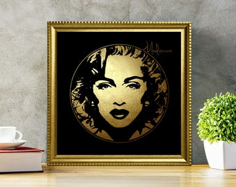 Madonna in Gold - Madonna - Madonna Art - Madonna Poster - Madonna Print - Personalities Portraits - Madonna Illustration - Black and gold