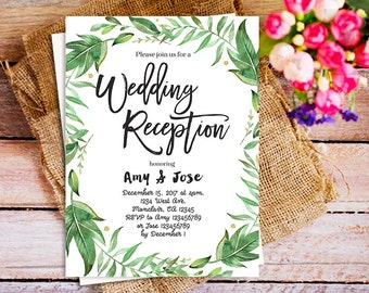 Wedding reception invitation, DIY Printable Wedding Reception botanical, DIGITAL greenery Wedding invitation, rustic wedding reception