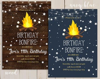 birthday bonfire invitation, Birthday party invite Camping Backyard, Campfire Birthday invite, marshmallow bonfire invitation S'mores Invite