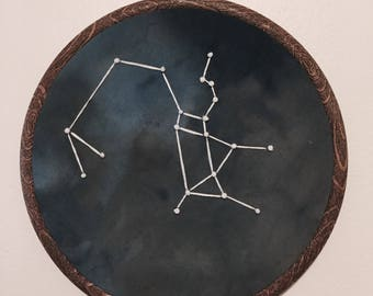 Sagittarius Constellation Hand Embroidered Wall Hanging * Astrology Constellation *