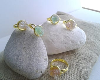 Drusy Quartz rings