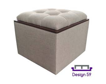 Tufted Storage Ottoman with Tray, Natural Linen