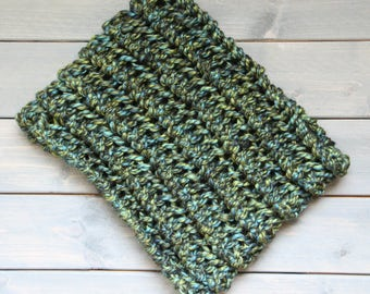 Chunky Knit Cowl, Hand Knit,  Chunky Knit Scarf,  Earth, Carbon Cowl