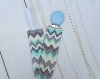 Blue and grey chevron pacifier clip for boy- pacifier holder, paci clip, universal, baby boy, baby shower gift, baby accessories