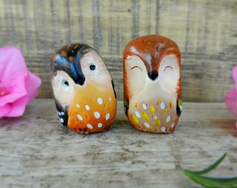 owl polymer clay collectible owls owl totem pocket owls clay figurines