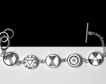 "Avengers Bracelet-Thor, Iron Man, Black Widow, Captain America, The Incredible Hulk-Marvel Comic Book Jewelry-16mm or 5/8"""