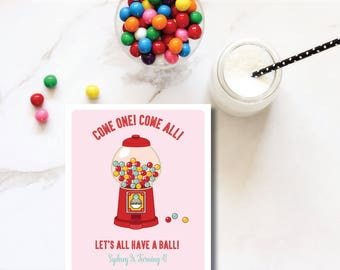 Retro Gumball Machine Pink DIY Printable Childrens Birthday Party Invitation