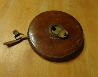 Sheffield Chesterman 50metre leather case hand crank cloth measuring tape