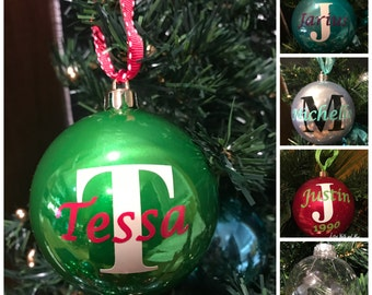 Personalized monogram initial Christmas Ornament Ball, Name and Initial customizable shatterproof Christmas Gift, Custom ornament