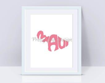Digital Maui Word Art, Maui jpg, png, pdf, eps, svg, Maui logo design, Maui word in map shape, Maui wall decor, Maui print, Love for Maui