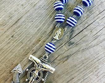 Nautical rosary,beach theme, sea