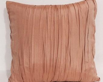 """Peach gold silk pillow/ 18""""x18"""" pure silk pillow cover/ gold peach pillows"""