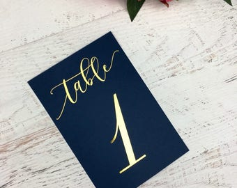 Navy and Gold Table Numbers - Wedding Table Markers - Wedding Table Decor - Gold Table Decor - Navy Table Markers - Gold Foil Table Numbers
