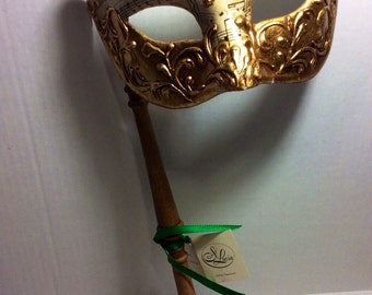 Vintage Gold Music Note Masquerade Mask Si Lucia Italy