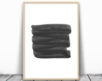 Black Watercolor, Minimalist Watercolor, Black Abstract Print, Minimalist Art Print, Abstract Printable, Watercolor Printable, Wall Print