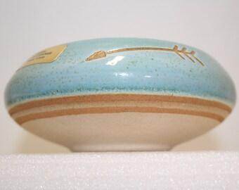 Hand thrown pot; Original Saguaro Stoneware; Phoenix, Az; semi-glazed; Sonoma-style cachepot; original sticker