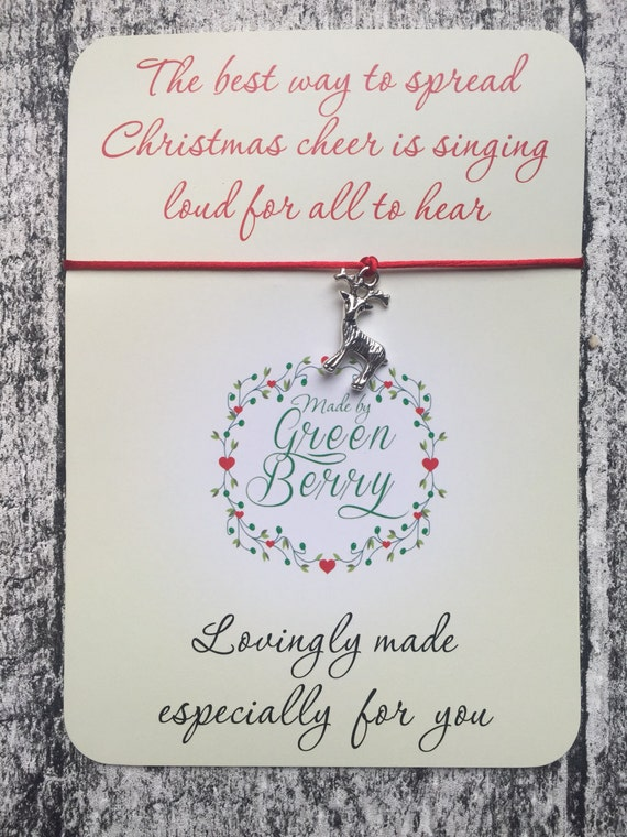 """Christmas Reindeer Charm Red String Bracelet on """"The Best Way to Spread Christmas Cheer"""" quote card madebygreenberry wish bracelet elf"""