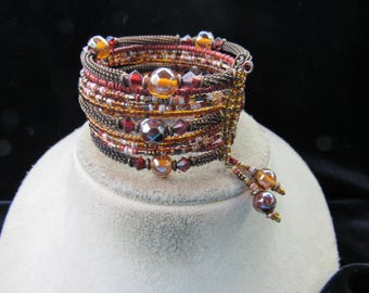 Vintage Wide Chunky Shades Of Brown & Red Glass Beaded Bangle-Wrap Bracelet