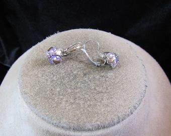 Vintage Pair Of Purple Rhinestone Brown Enameled Floral Lever Back Dangle Earrings