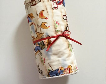 Little Cowgirl Baby Blanket | Baby Quilt | Stroller Blanket | Ivory Minky Back