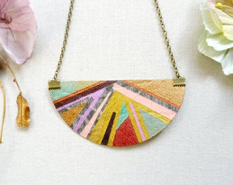 Asymmetric half moon necklace/gold & multi- coloured bib necklace/denim necklace/statement fabric necklace/gifts for her/ JN8-017
