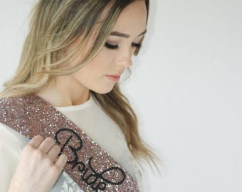 ROSE GOLD Bride to be sash - pinky rose gold glitter handmade - Bachelorette Sash - Hen Party Sash - Hens night - Bridal Shower sash