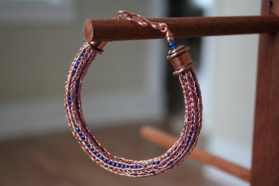 Blue Beaded Copper Viking Knit Bracelet