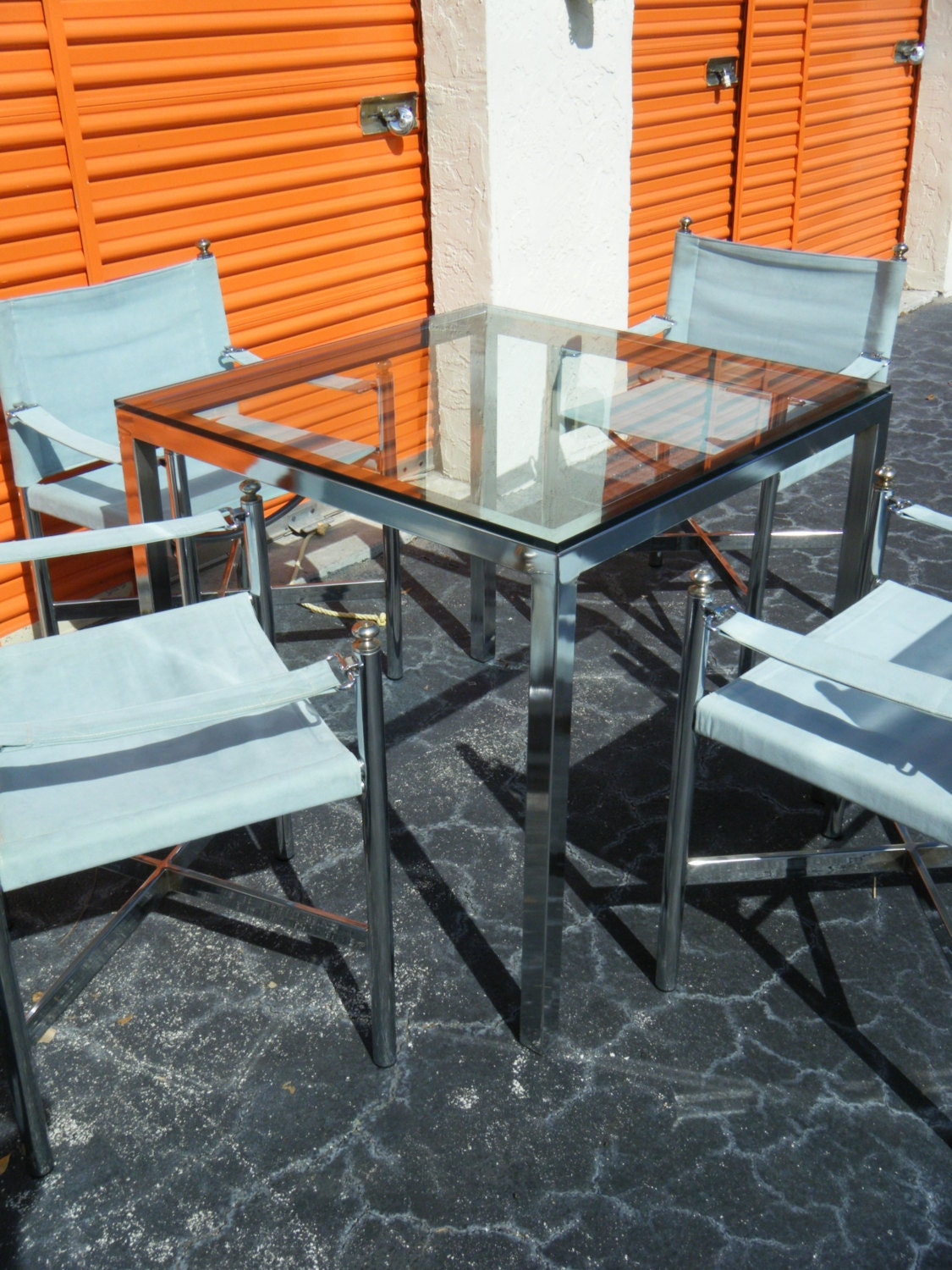 Mid Century Modern Milo Baughman Style Chrome Card Table Chairs Sold - Mid century modern card table