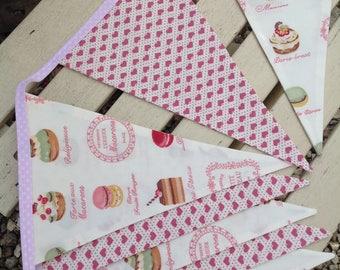 Cake bunting, heart bunting, pink bunting, fabric bunting, handmade bunting, shabby chic bunting, wedding party bunting, wedding bunting,