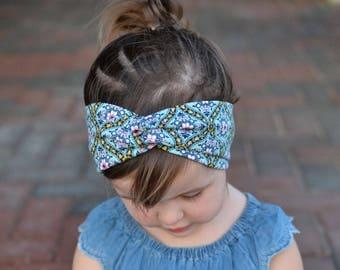Floral Baby Turban Headband, Baby Girl Headwrap, Headband, Baby Turban, Headwrap, Adult Turban, Stretchy Headband,