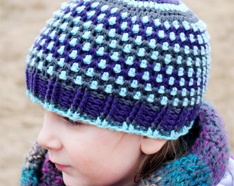 Hail Storm Beanie Crochet Pattern - Child Sizes