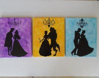 Disney Princess and Prince Silhouette Watercolor Canvas Paintings - Set of 3 Belle Cinderella Sleeping Beauty