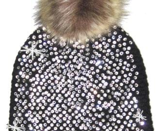 Bling Winter Pom Hat in Black
