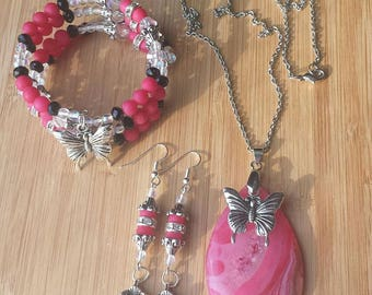 Glass and Druzy Agate Butterfly Three Piece Set