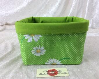 Daisy Fabric basket short reversible organiser bin storage sewing. Handmade in England