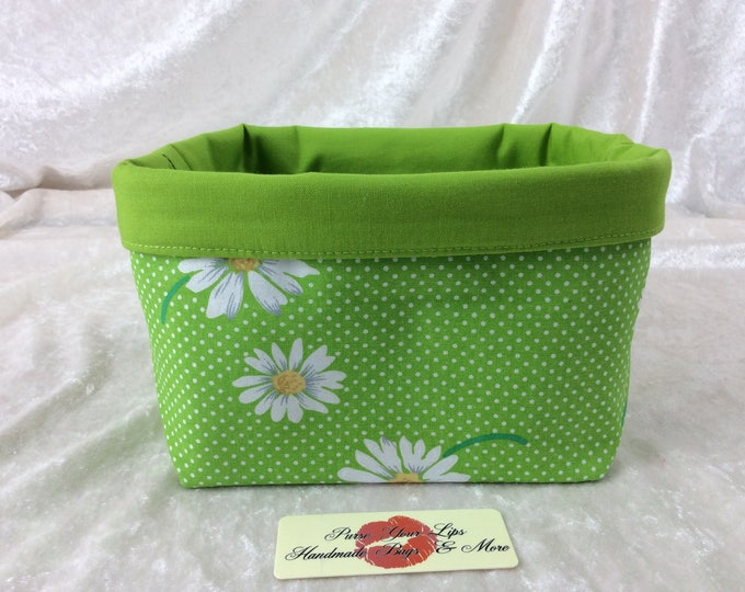 Daisy Fabric basket short reversible organiser bin storage sewing. Handmade in England