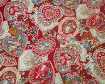 Valentine's Day Fabric  1 Yard Cotton