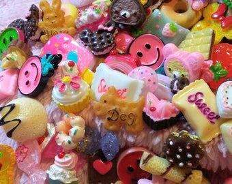 Kawaii Cabochon Dessert Sweet Treat Mix Random Assortment - Kawaii Food Cabochons - Cakes Candy Cookies Milkshakes Ice Cream etc. - Resin