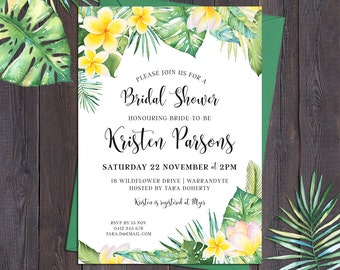 Lovely Tropical Invitation, Frangipani/plumeria, For Any Occasion   Engagement,  Bridal Or Baby