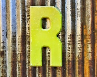 Vintage Metal Marquee Sign Letter, Metal Letter R, Industrial Metal Letter, Sign Letter