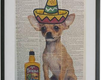 Chihuahua Dog Print No.439, chihuahua decal, chihuahua art, chihuahua gifts, girlfriend gifts, housewarming gift, boyfriend gifts
