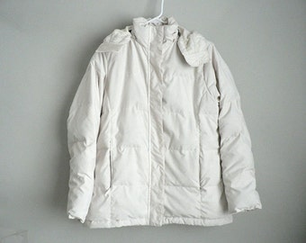 Womens Puffy Down Winter Jacket With Zip Off Hood