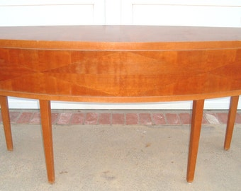 SOLD*** French MID CENTURY Modern - Vtg Surfboard Credenza Console Sideboard Sofa Table - Abstract Inland Wood - Leleu Style Offers Welcome!