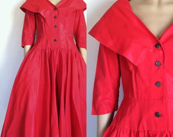 Vintage 1950's Red Sweetheart Shawl Collar Dress