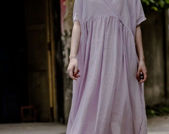 Women V round tunic dress summer linen dress long pleated dress linen maxi dress beach dress plus size linen clothing